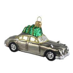 Decor By Glassor Vánoční ozdoba auto stříbrné