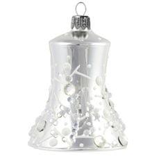 Decor By Glassor Zvonek stříbrný s dekorem mrazivých kapek