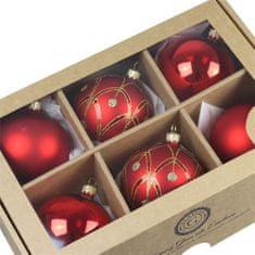 Decor By Glassor Set vánočních ozdob v červené barvě