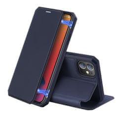 Dux Ducis Skin X Knížková kožené pouzdro na iPhone 12 mini, modré