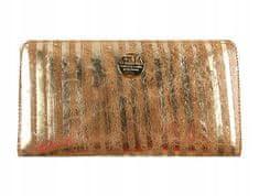 FOREVER YOUNG Luxusní dámská kožená peněženka Gold zebra forever, zlatá větší