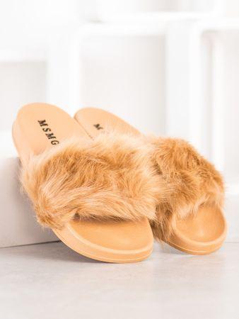 Női papucs 68451 + Nőin zokni Gatta Calzino Strech, bézs és barna árnyalat, 37