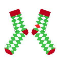 Toe Story Zelenobílé šachovnicové ponožky Tennis Toe