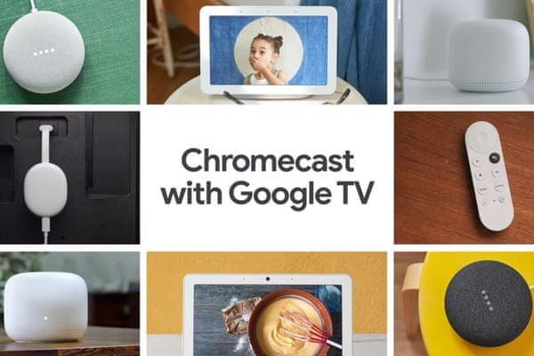 multimediální přehrávač google chromecast 4 google tv Bluetooth wifi hdmi usbc hdr vysoký dynamický rozsah hlasové ovládání google assistant dálkový ovladač