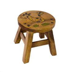DahicanCZ Stolička - dětská dřevěná - žirafka s motýlkem