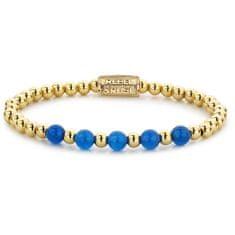 Rebel & Rose Zlatý korálkový náramek Yellow Gold meets Brightening Blue RR-60066-G