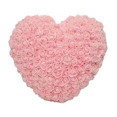Srdce z umělých růží velké - růžové X00185