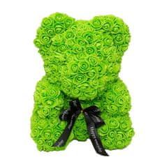 Medvídek z umělých růží 25 cm - zelený X00219