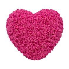 Srdce z umělých růží velké - tmavě růžové X00183