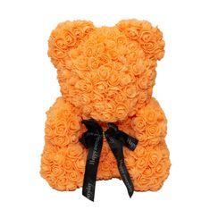 Medvídek z umělých růží 40 cm - oranžový X00179