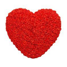 Srdce z umělých růží velké - červené X00186