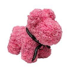 Pejsek z umělých růží velký - růžový X00181