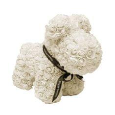 Pejsek z umělých růží velký - krémově bílý X00180