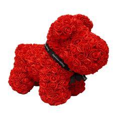 Pejsek z umělých růží velký - červený X00182