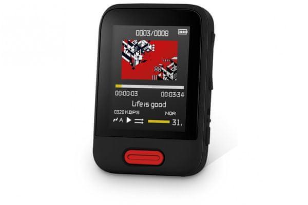 moderní Bluetooth mp3 přehrávač kartový sencor sfp 7716 slot pro microSD kartu 16 gb vnitřní paměti sluchátka v balení digitální fm tuner tft displej