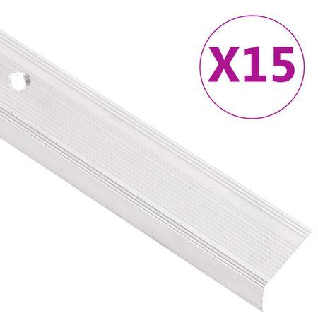 shumee Obrobe za stopnice L-oblike 15 kosov aluminij 90 cm srebrne