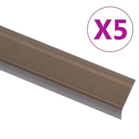 shumee Obrobe za stopnice L-oblike 5 kosov aluminij 100 cm rjave