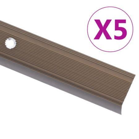 shumee Profile schodowe, kształt L, 5 szt., aluminium, 134 cm, brązowe