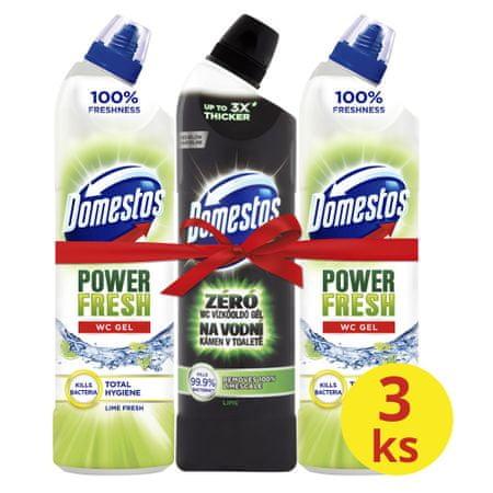 Domestos Total Hygiene Lime Fresh WC gél 2x 700 ml+ Ocean Fresh 750 ml