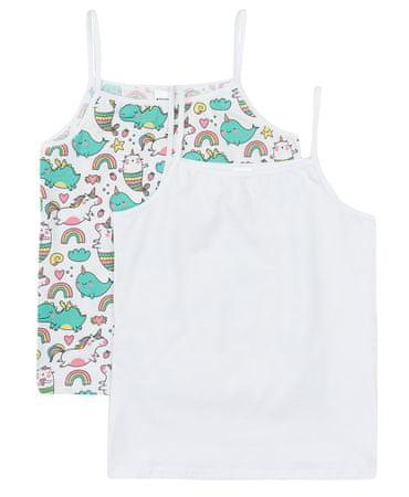 Garnamama md111579_fm1 majica za djevojčice s naramenicama, 2 komada, bijela, 122-128