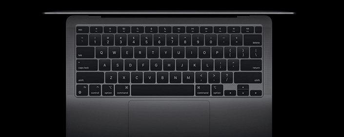 notebook Apple MacBook Air 13 M1 (MGND3CZ/A), klávesnica nožnicový systém Touch ID viacdotykový