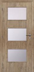 SOLODOOR Interiérové dveře SOLODOOR, prosklené, model SMART 6, šířka 700 mm, pravé provedení, povrch SOLO STRUKTUR, dekor DUB ALPSKÝ, oblá boční hrana
