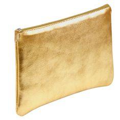Clairefontaine Pernica, koža, plosnata, 11 x 22 cm, zlatna