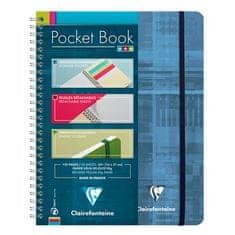 Clairefontaine Pocket Book blok, spiralni, črtan, z elastiko, A5