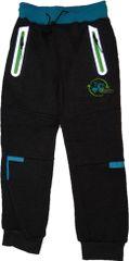 KUGO Chlapecké zateplené silnější šedé kalhoty s modrým traktorem a reflexními prvky.