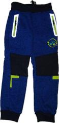 KUGO Chlapecké zateplené silnější modré tepláky s modrým traktorem a reflexními prvky.