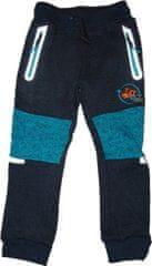 KUGO Chlapecké zateplené silnější šedomodré kalhoty s oranžovým traktorem a reflexními prvky.