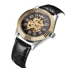Winner Luxusní hodinky WINNER s průhledným ciferníkem ve zlato černém provedení - automatické