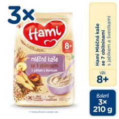 Hami mliečna kaša so 7 obilninami s jablkom a slivkami 3x 210g, 8+