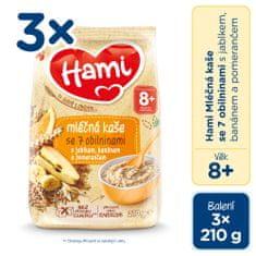 Hami mliečna kaša so 7 obilninami s jablkom, banánom a pomarančom 3x 210g, 8+
