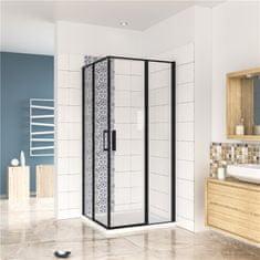 H K Štvorcový sprchovací kút BLACK SAFIR R909, 90x90 cm, s dvomi jednokrídlovými dverami s pevnou stenou, rohový vstup