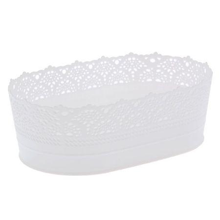 """IDEA Wazon na chleb i owoce 22 cm """"ażur"""", kolor biały"""