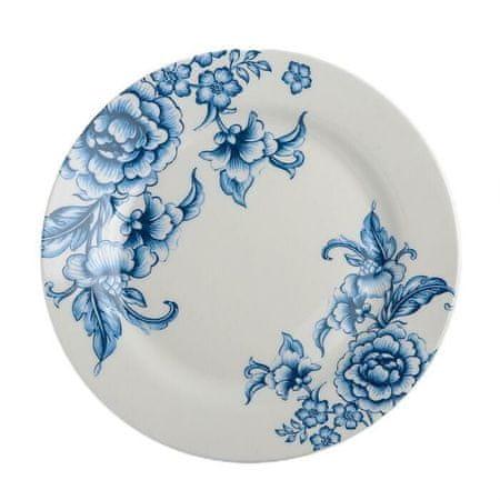 """Kraftika Vacsora lemez """"selena,"""" 25,3 × 2,2 cm, fehér/kék szín"""