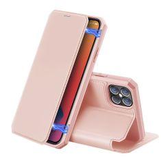 Dux Ducis Skin X Knížková kožené pouzdro na iPhone 12 Pro Max, růžové