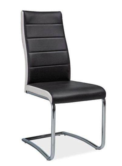 ATAN Jídelní čalouněná židle H-353 černá/bílé boky