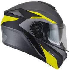 CGM Výklopná přilba moto Dresda– černá/šedá/žlutá