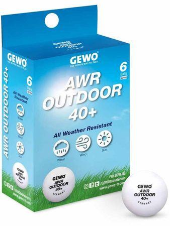 Gewo AWR Outdoor 40+ set žogic za namizni tenis, 6 kosov, bel