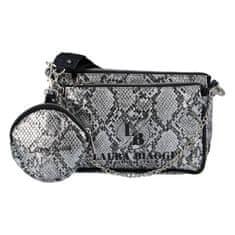 Laura Biaggi Módní dámská menší koženková kabelka s hadím potiskem Valentina Laura Biaggi, černá/stříbrná