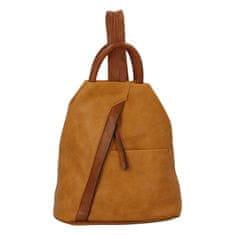 Paolo Bags Módny dámsky koženkový batoh Caroline, žlto/hnedý