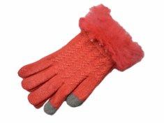 Rękawiczki damskie do ekranu dotykowego - kolor pomarańczowy