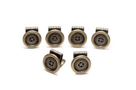 FREI Gombos csíptető, 4 lyukú kivitel, antik sárgaréz, 23 mm