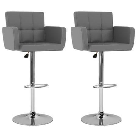 slomart Barski stolčki 2 kosa sivo umetno usnje