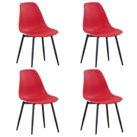 shumee Jedilni stoli 4 kosi rdeče barve PP