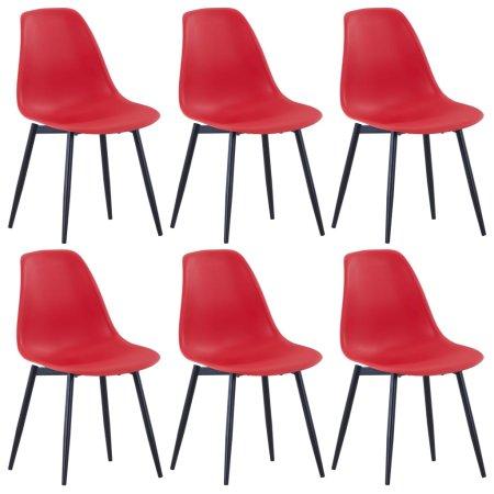 shumee Jedilni stoli 6 kosov rdeče barve PP