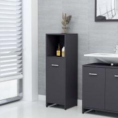 shumee Skrinka do kúpeľne, sivá 30x30x95 cm, drevotrieska