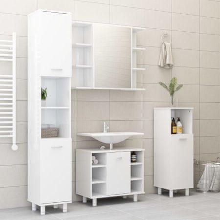 slomart Kopalniško pohištvo 3 kosi visok sijaj bele barve iverna plošča
